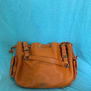Prada leather side pockets shoulder bag orange
